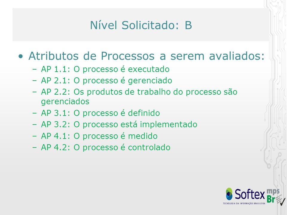 Nível Solicitado: D Nível Solicitado: B Atributos de Processos a serem avaliados: –AP 1.1: O processo é executado –AP 2.1: O processo é gerenciado –AP