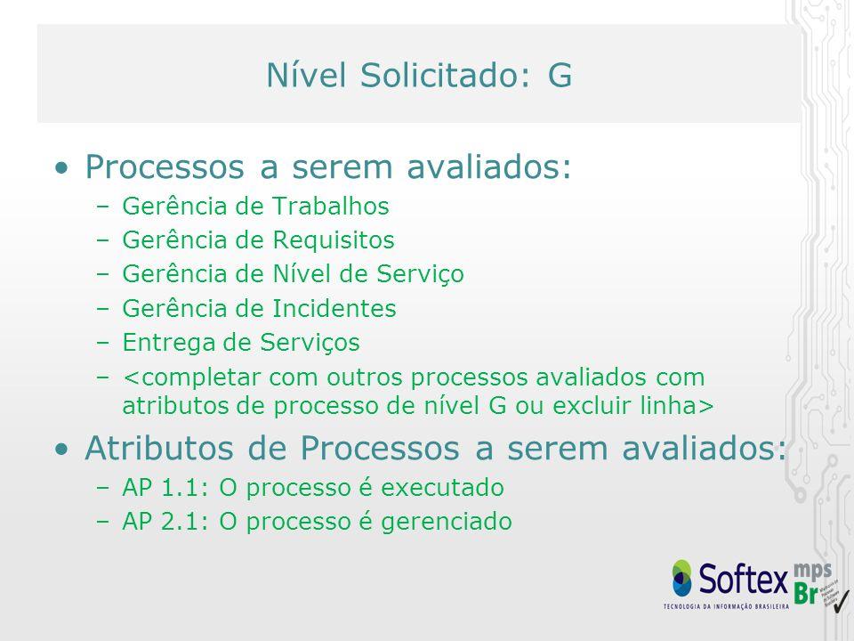 Nível Solicitado: F Processos a serem avaliados: (excluir o não pertinente) –Gerência de Trabalhos –Gerência de Requisitos –Gerência de Nível de Serviço –Gerência de Incidentes –Entrega de Serviços –Aquisição –Gerência de Configuração –Gerência de Portfolio de Trabalhos –Garantia da Qualidade –Gerência de Problemas –Medição – Atributos de Processos a serem avaliados: –AP 1.1: O processo é executado –AP 2.1: O processo é gerenciado –AP 2.2: Os produtos de trabalho do processo são gerenciados