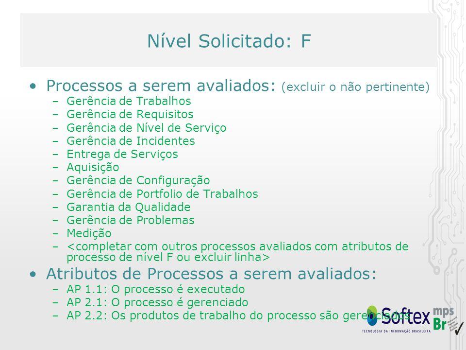 Nível Solicitado: F Processos a serem avaliados: (excluir o não pertinente) –Gerência de Trabalhos –Gerência de Requisitos –Gerência de Nível de Servi