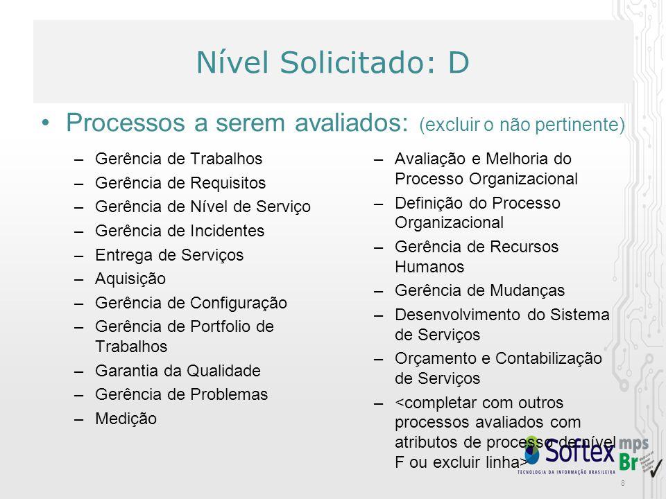 8 Nível Solicitado: D –Gerência de Trabalhos –Gerência de Requisitos –Gerência de Nível de Serviço –Gerência de Incidentes –Entrega de Serviços –Aquis