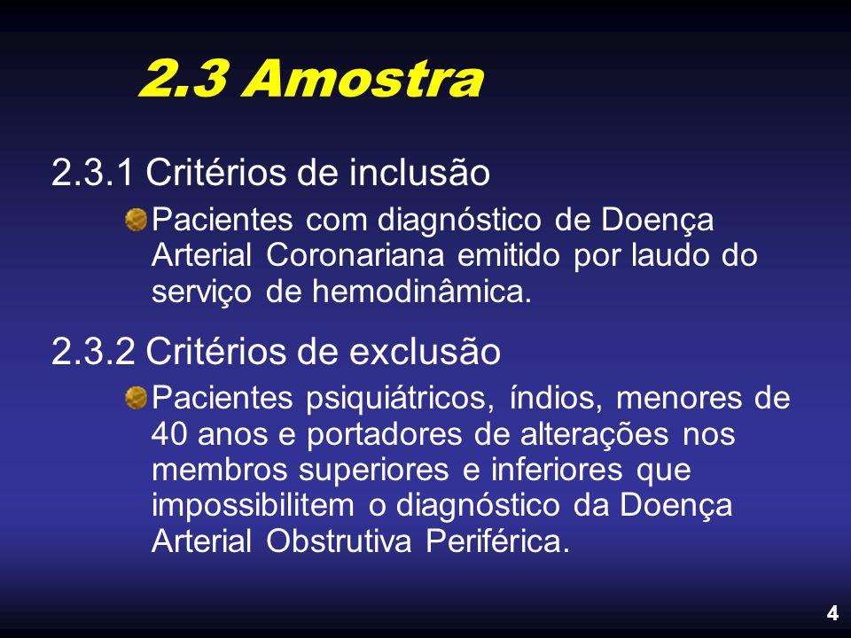 2.3 Amostra 2.3.1 Critérios de inclusão Pacientes com diagnóstico de Doença Arterial Coronariana emitido por laudo do serviço de hemodinâmica. 2.3.2 C