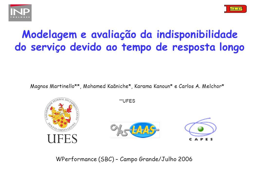 Modelagem e avaliação da indisponibilidade do serviço devido ao tempo de resposta longo WPerformance (SBC) – Campo Grande/Julho 2006 Magnos Martinello**, Mohamed Kaâniche*, Karama Kanoun* e Carlos A.
