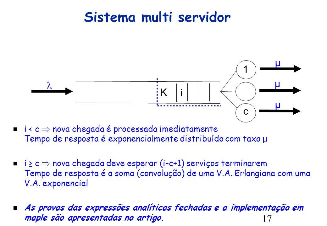 17 Sistema multi servidor μ K i μ μ 1 c i < c nova chegada é processada imediatamente Tempo de resposta é exponencialmente distribuído com taxa μ i c nova chegada deve esperar (i-c+1) serviços terminarem Tempo de resposta é a soma (convolução) de uma V.A.