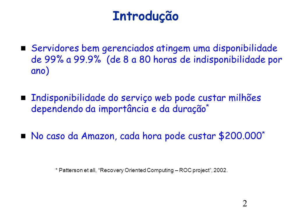 2 Introdução Servidores bem gerenciados atingem uma disponibilidade de 99% a 99.9% (de 8 a 80 horas de indisponibilidade por ano) Indisponibilidade do serviço web pode custar milhões dependendo da importância e da duração * No caso da Amazon, cada hora pode custar $200.000 * * Patterson et all, Recovery Oriented Computing – ROC project, 2002.