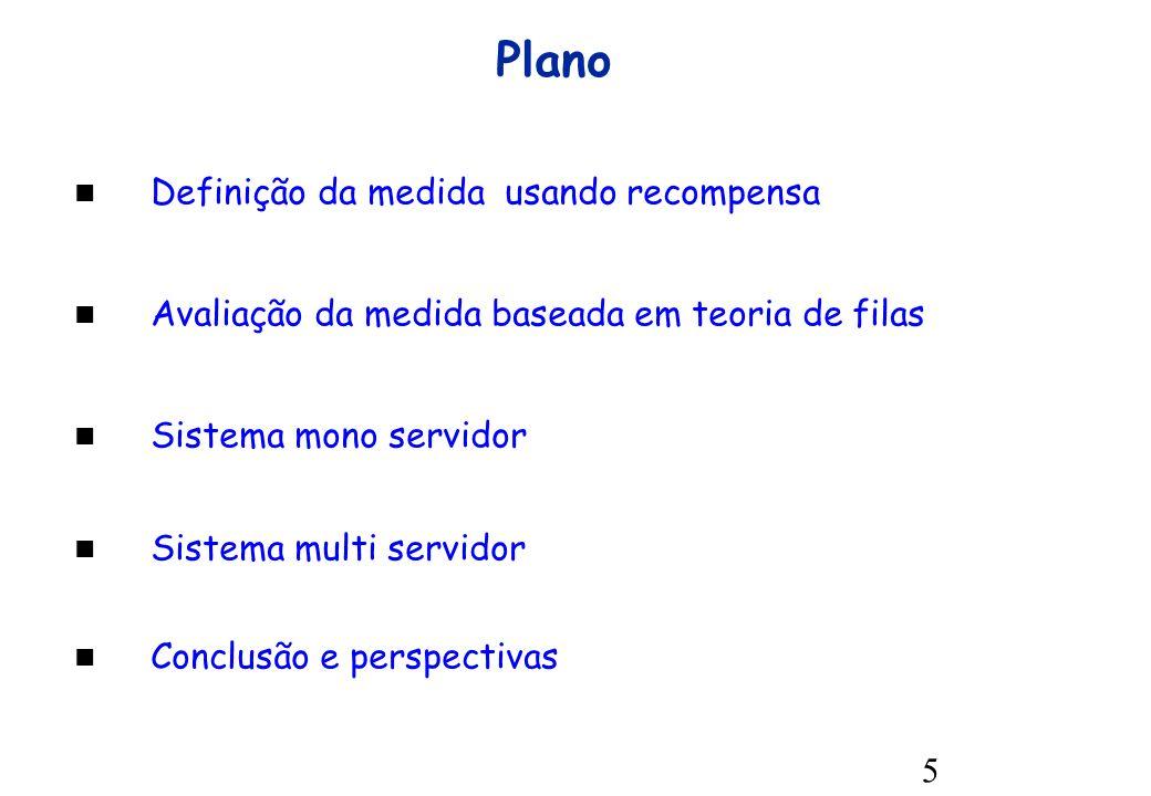 5 Definição da medida usando recompensa Avaliação da medida baseada em teoria de filas Sistema mono servidor Sistema multi servidor Conclusão e perspectivas Plano