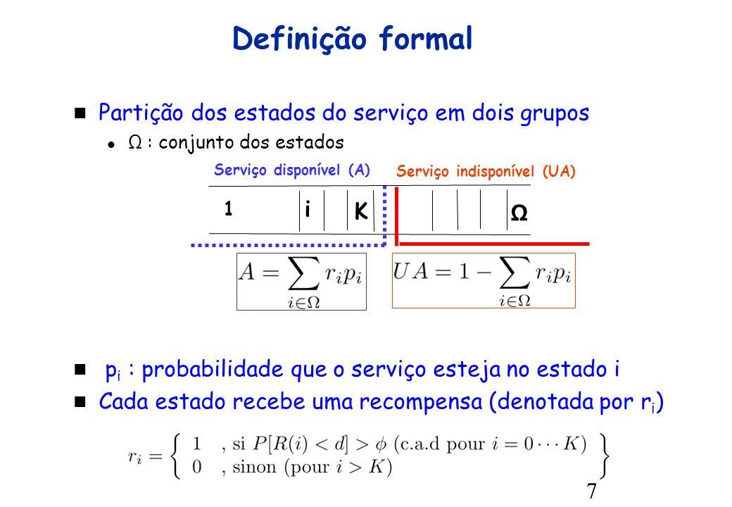7 Definição formal Serviço disponível (A) i K 1 Serviço indisponível (UA) Ω Partição dos estados do serviço em dois grupos Ω : conjunto dos estados p i : probabilidade que o serviço esteja no estado i Cada estado recebe uma recompensa (denotada por r i )