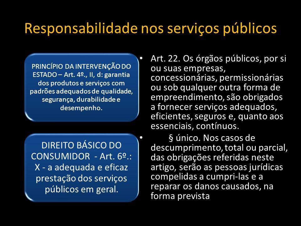 Responsabilidade nos serviços públicos PRINCÍPIO DA INTERVENÇÃO DO ESTADO – Art.
