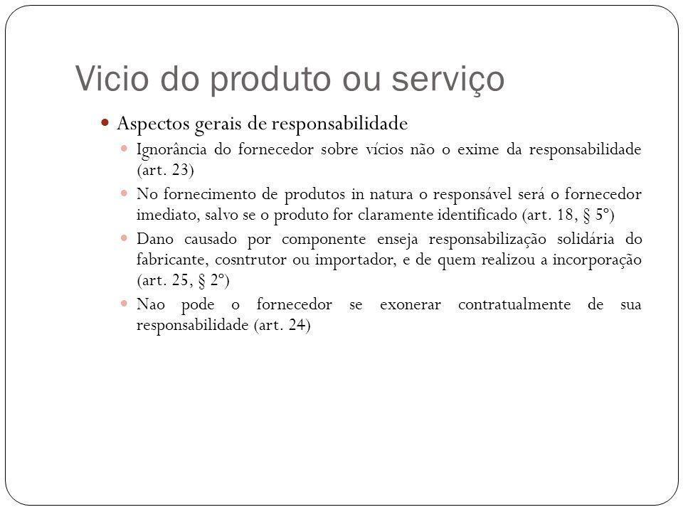 Vicio do produto ou serviço Aspectos gerais de responsabilidade Ignorância do fornecedor sobre vícios não o exime da responsabilidade (art.