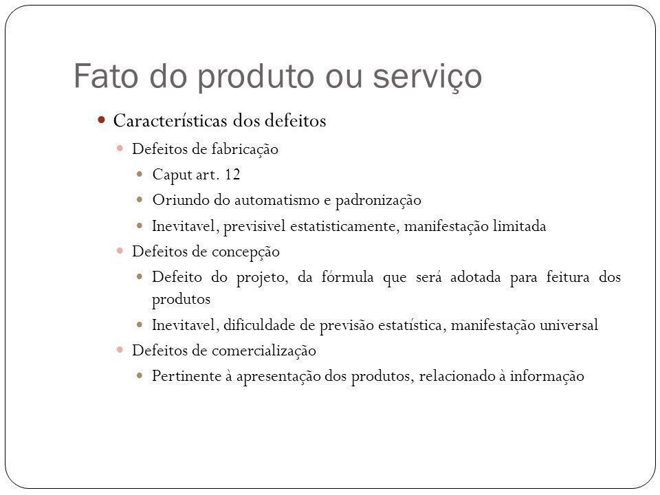 Fato do produto ou serviço Características dos defeitos Defeitos de fabricação Caput art.