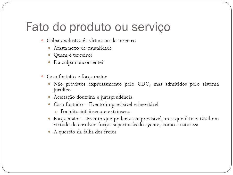 Fato do produto ou serviço Culpa exclusiva da vítima ou de terceiro Afasta nexo de causalidade Quem é terceiro.