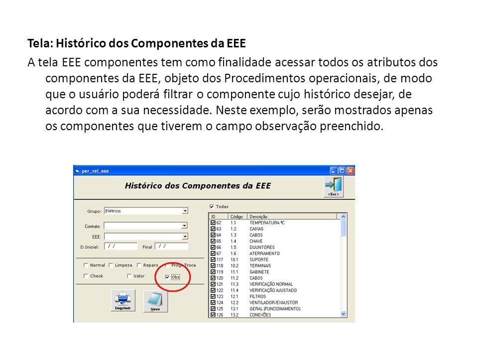 Tela: Histórico dos Componentes da EEE A tela EEE componentes tem como finalidade acessar todos os atributos dos componentes da EEE, objeto dos Procedimentos operacionais, de modo que o usuário poderá filtrar o componente cujo histórico desejar, de acordo com a sua necessidade.