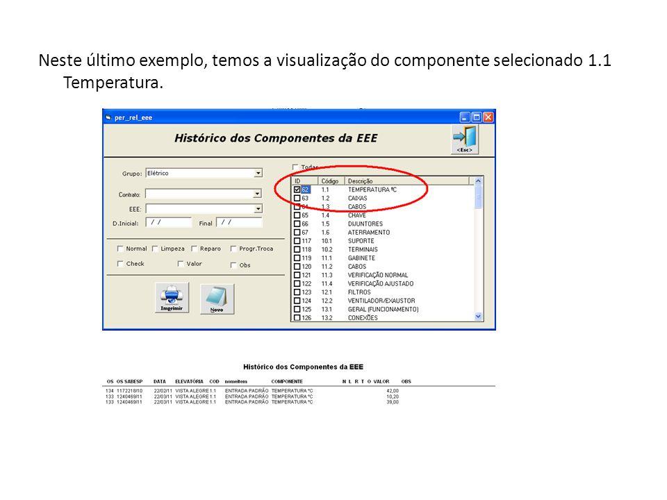 Neste último exemplo, temos a visualização do componente selecionado 1.1 Temperatura.