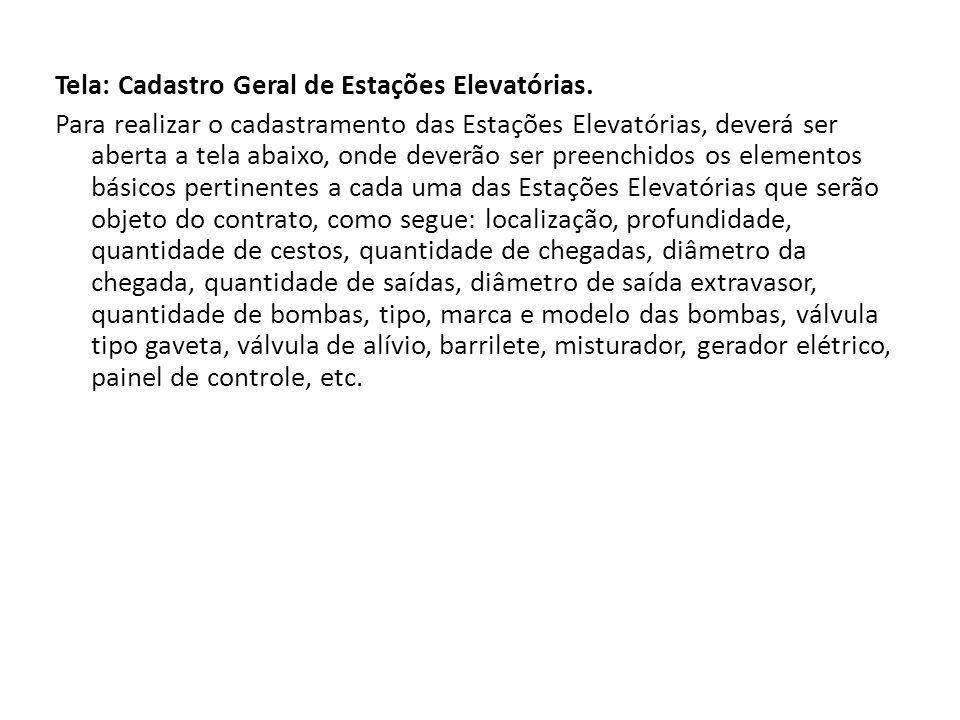 Tela: Cadastro Geral de Estações Elevatórias.