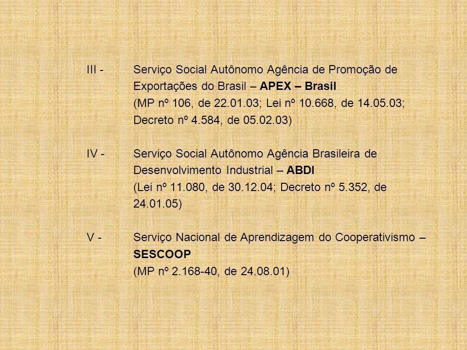 III -Serviço Social Autônomo Agência de Promoção de Exportações do Brasil – APEX – Brasil (MP nº 106, de 22.01.03; Lei nº 10.668, de 14.05.03; Decreto
