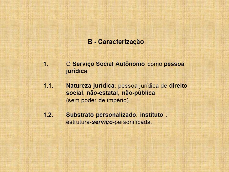 B - Caracterização 1.O Serviço Social Autônomo como pessoa jurídica. 1.1.Natureza jurídica: pessoa jurídica de direito social, não-estatal, não-públic