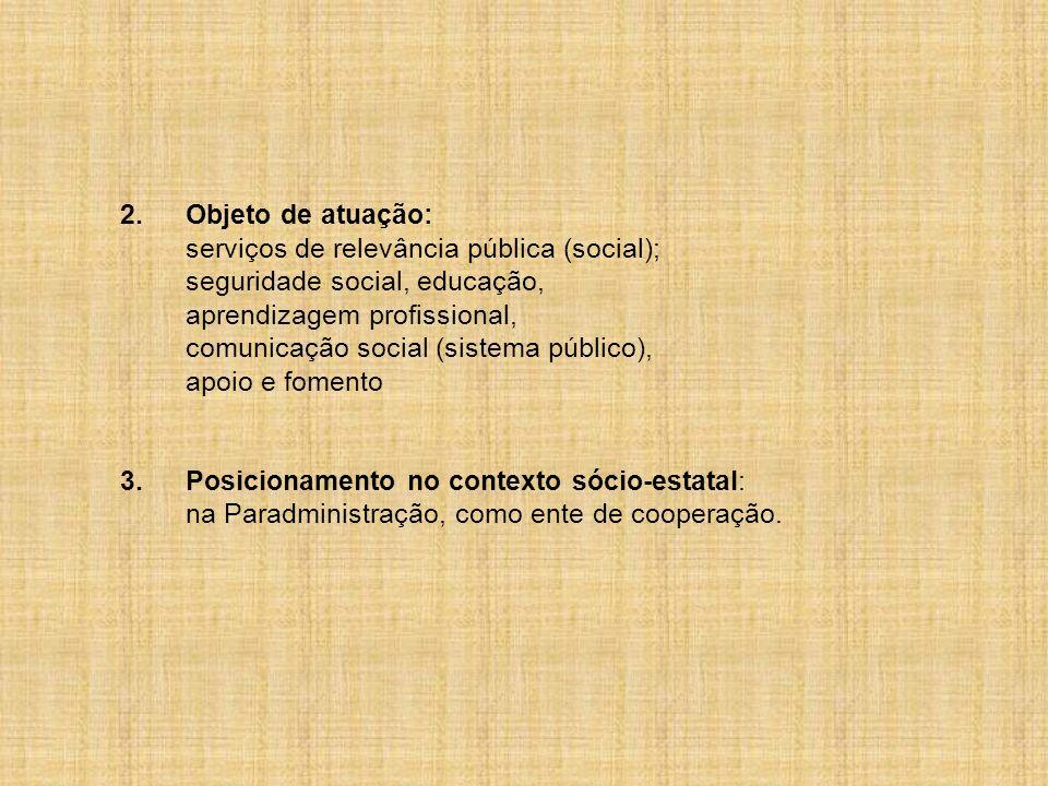2.Objeto de atuação: serviços de relevância pública (social); seguridade social, educação, aprendizagem profissional, comunicação social (sistema públ