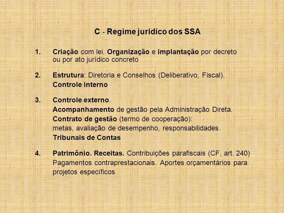 C - Regime jurídico dos SSA 1.Criação com lei. Organização e implantação por decreto ou por ato jurídico concreto 2.Estrutura: Diretoria e Conselhos (
