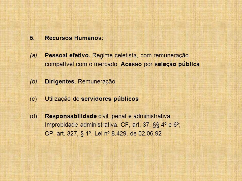 5.Recursos Humanos: (a) Pessoal efetivo. Regime celetista, com remuneração compatível com o mercado. Acesso por seleção pública (b)Dirigentes. Remuner
