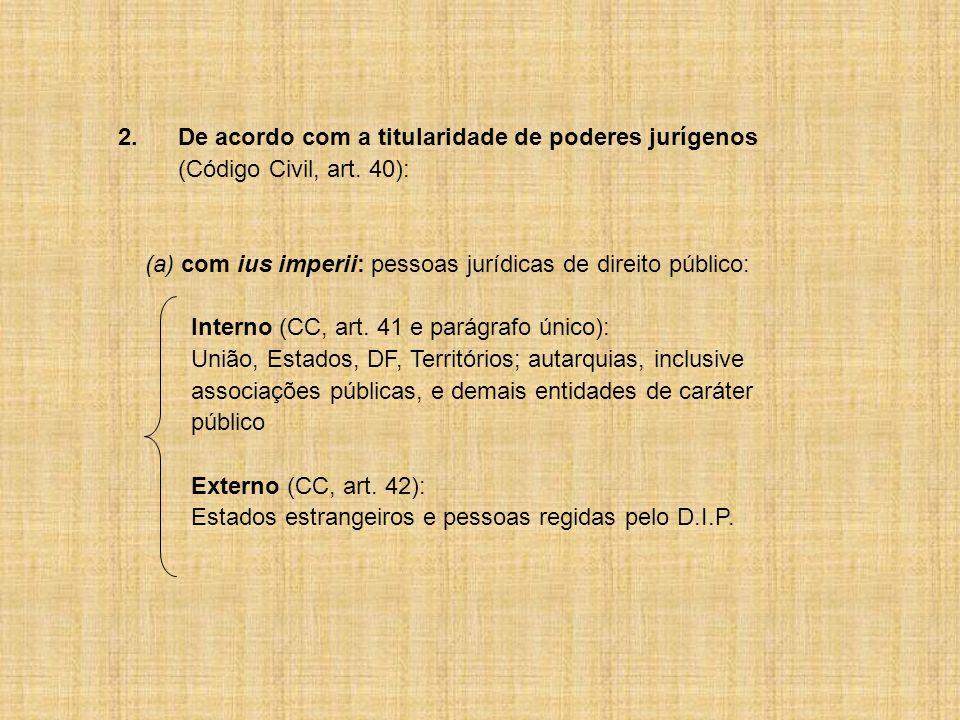 2.De acordo com a titularidade de poderes jurígenos (Código Civil, art. 40): (a) com ius imperii: pessoas jurídicas de direito público: Interno (CC, a