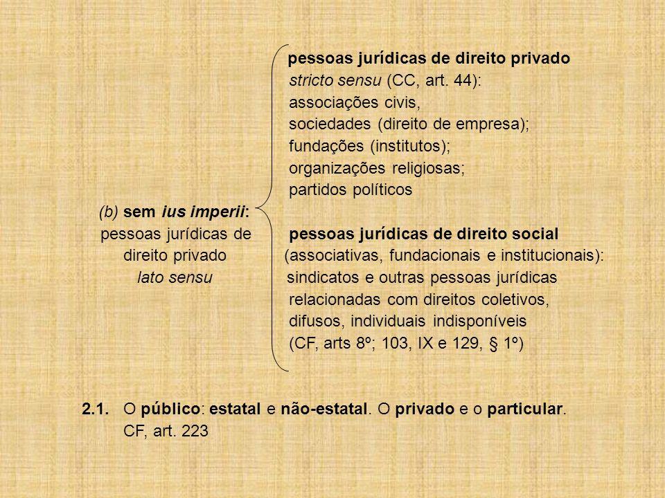 pessoas jurídicas de direito privado stricto sensu (CC, art. 44): associações civis, sociedades (direito de empresa); fundações (institutos); organiza