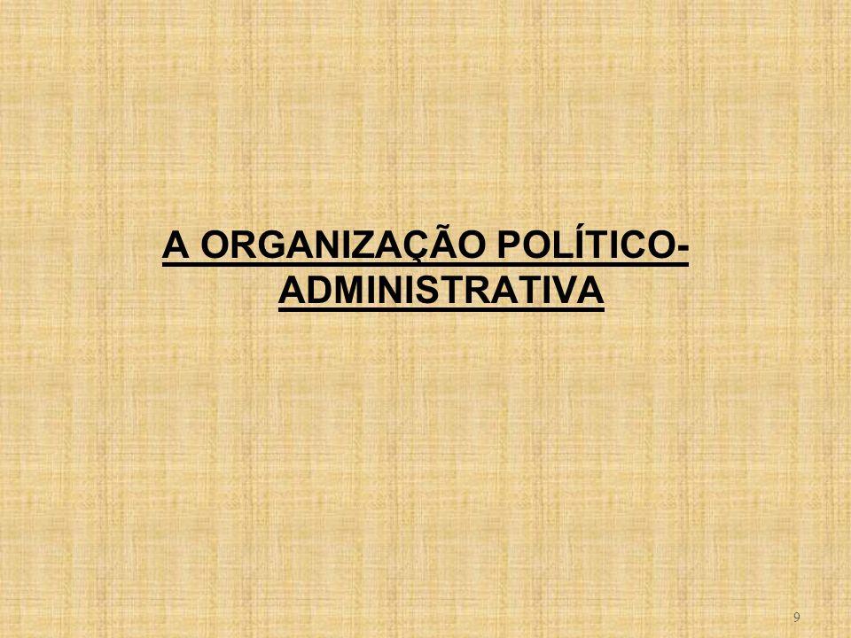 9 A ORGANIZAÇÃO POLÍTICO- ADMINISTRATIVA
