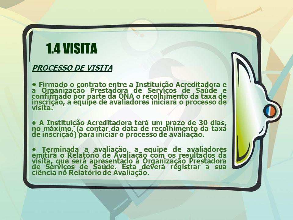 1.4 VISITA PROCESSO DE VISITA Firmado o contrato entre a Instituição Acreditadora e a Organização Prestadora de Serviços de Saúde e confirmado por par