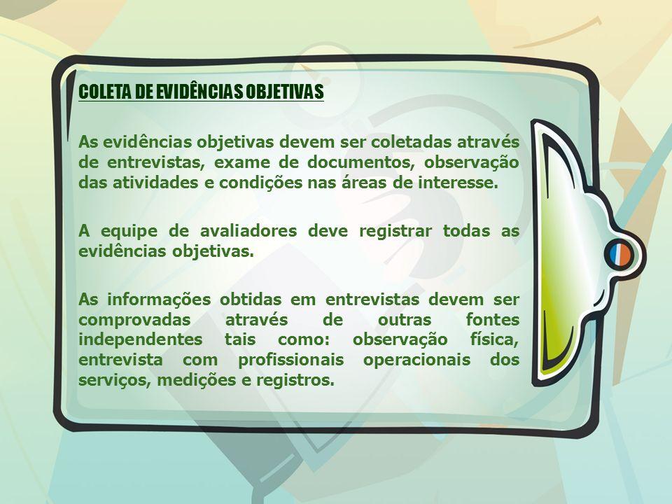 COLETA DE EVIDÊNCIAS OBJETIVAS As evidências objetivas devem ser coletadas através de entrevistas, exame de documentos, observação das atividades e condições nas áreas de interesse.