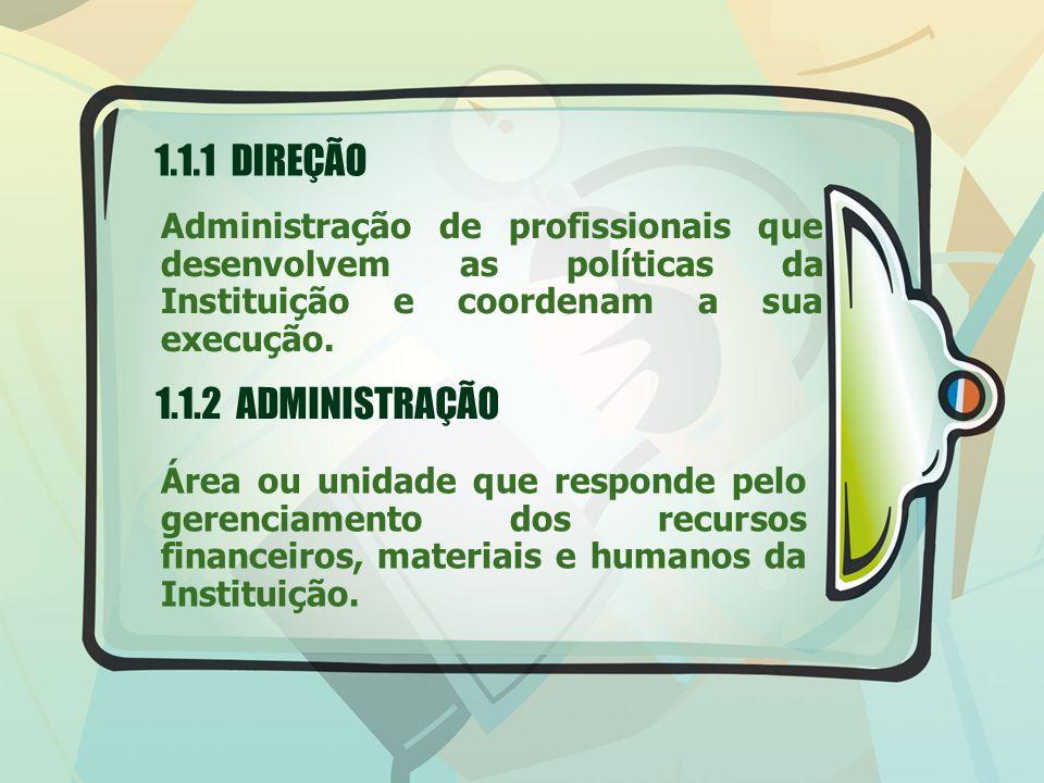 1.1.1 DIREÇÃO Administração de profissionais que desenvolvem as políticas da Instituição e coordenam a sua execução. 1.1.2 ADMINISTRAÇÃO Área ou unida