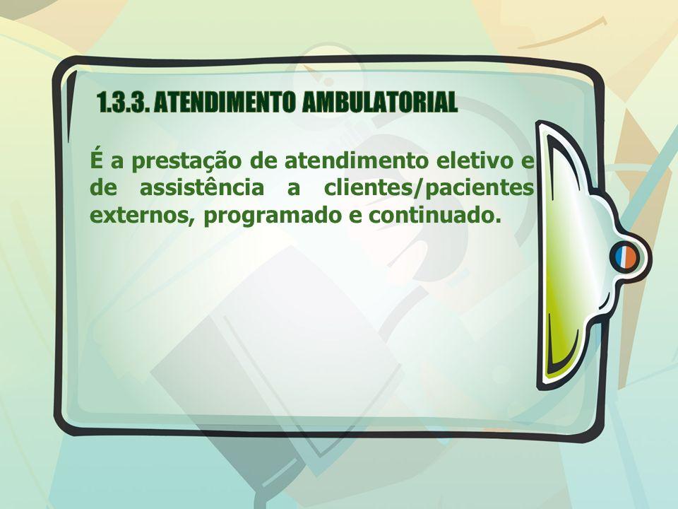 É a prestação de atendimento eletivo e de assistência a clientes/pacientes externos, programado e continuado.