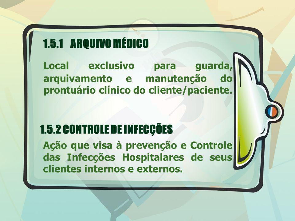 1.5.1 ARQUIVO MÉDICO Local exclusivo para guarda, arquivamento e manutenção do prontuário clínico do cliente/paciente. 1.5.2 CONTROLE DE INFECÇÕES Açã