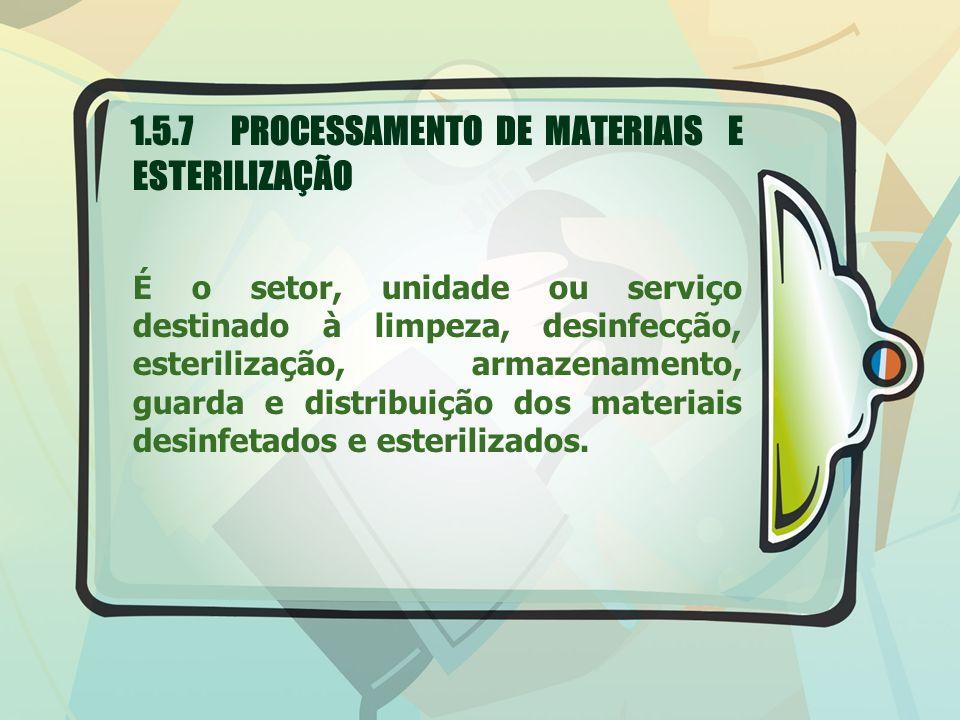 1.5.7 PROCESSAMENTO DE MATERIAIS E ESTERILIZAÇÃO É o setor, unidade ou serviço destinado à limpeza, desinfecção, esterilização, armazenamento, guarda e distribuição dos materiais desinfetados e esterilizados.