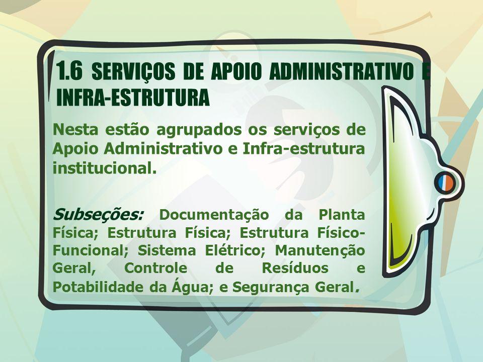 1.6 SERVIÇOS DE APOIO ADMINISTRATIVO E INFRA-ESTRUTURA Nesta estão agrupados os serviços de Apoio Administrativo e Infra-estrutura institucional. Subs