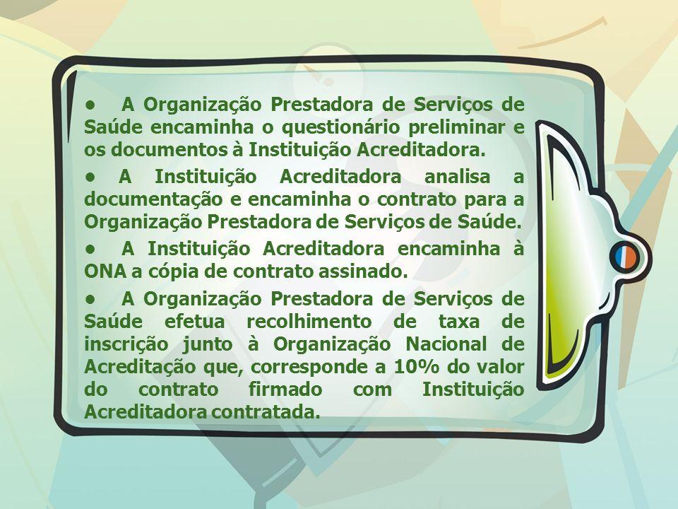 A Organização Prestadora de Serviços de Saúde encaminha o questionário preliminar e os documentos à Instituição Acreditadora. A Instituição Acreditado