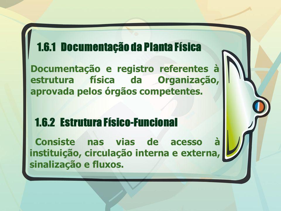1.6.1 Documentação da Planta Física Documentação e registro referentes à estrutura física da Organização, aprovada pelos órgãos competentes. 1.6.2 Est