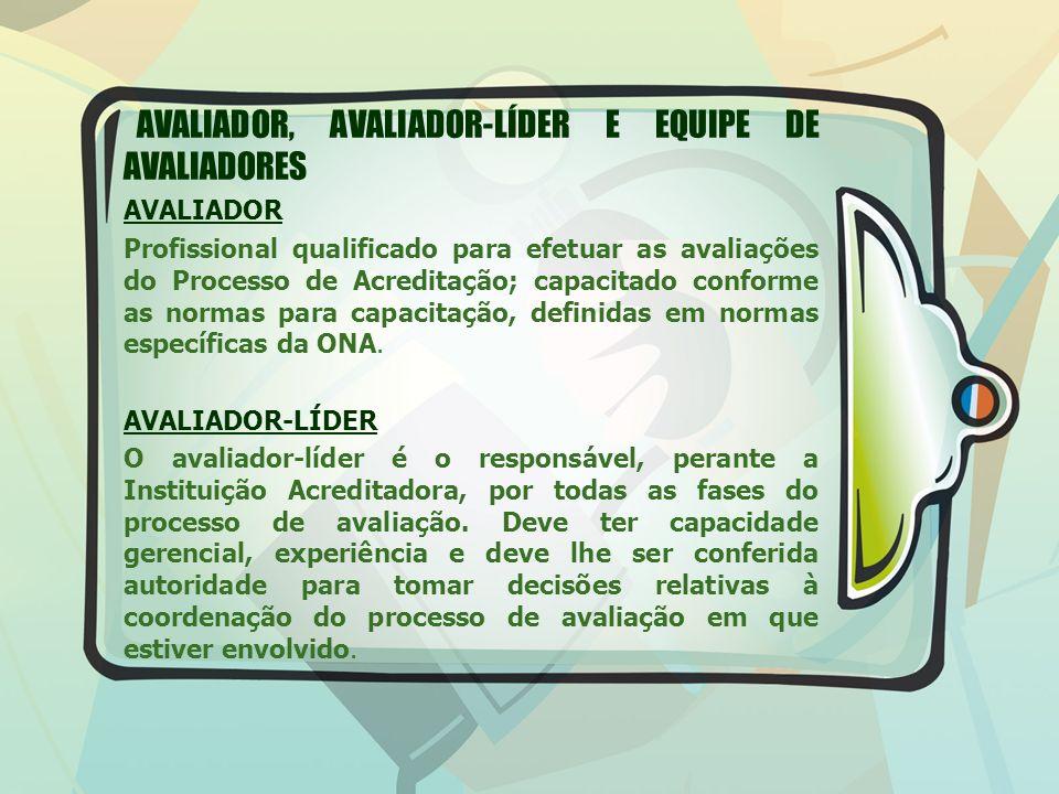 AVALIADOR, AVALIADOR-LÍDER E EQUIPE DE AVALIADORES AVALIADOR Profissional qualificado para efetuar as avaliações do Processo de Acreditação; capacitad