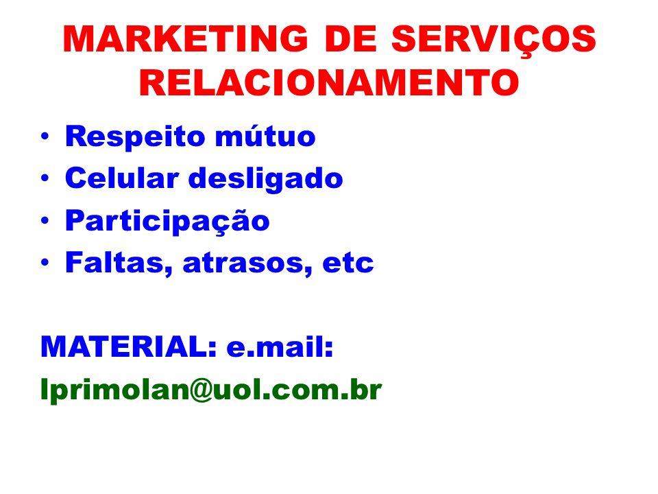 MARKETING DE SERVIÇOS RELACIONAMENTO Respeito mútuo Celular desligado Participação Faltas, atrasos, etc MATERIAL: e.mail: lprimolan@uol.com.br