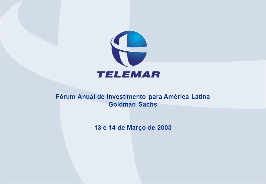 RJ-AAA-AAMMDD 1 Overview – Dezembro/2002 Maior empresa integrada de Telecom no Brasil –15,1 milhões de linhas em serviço (Dez/02) –1,4 milhão de assinantes na telefonia móvel (Dez/02) Área de Concessão –65% do território brasileiro/ 93 milhões de habitantes –40% PIB Brasileiro –Mais de 20 milhões de domicílios Liderança no Serviço Local (partic.