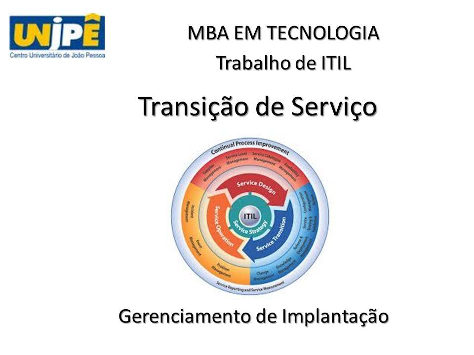 Transição de Serviço Gerenciamento de Implantação MBA EM TECNOLOGIA Trabalho de ITIL