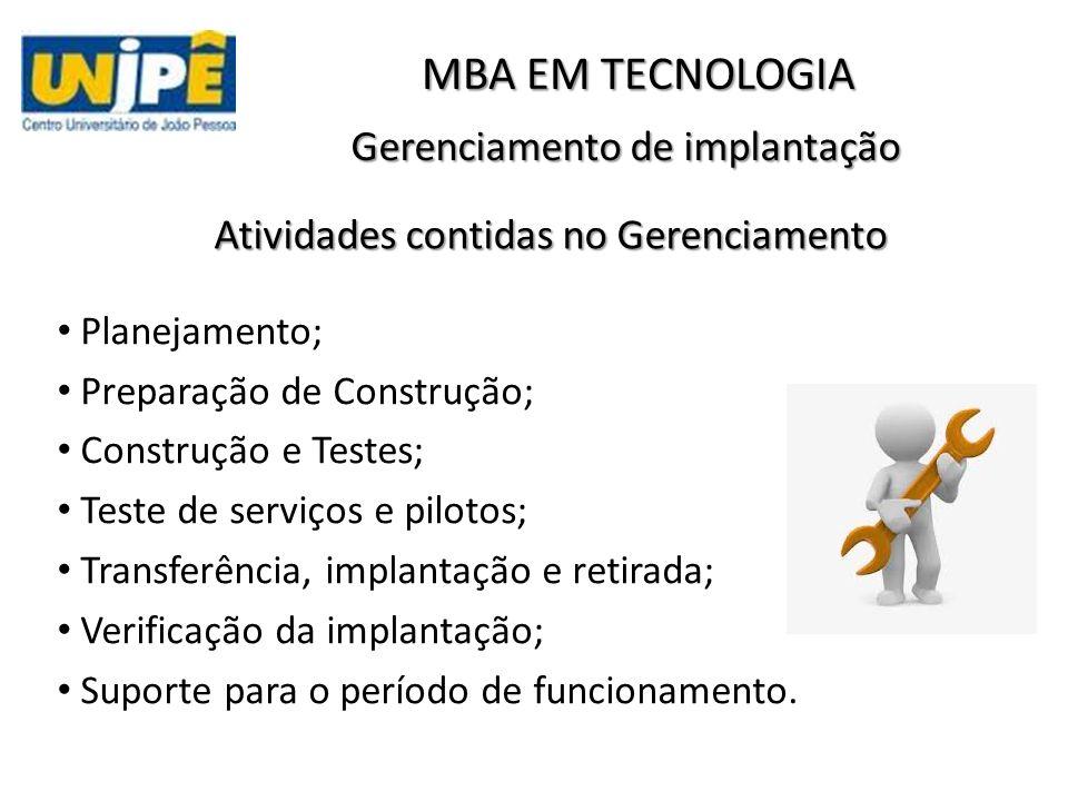 Gerenciamento de implantação Planejamento; Preparação de Construção; Construção e Testes; Teste de serviços e pilotos; Transferência, implantação e retirada; Verificação da implantação; Suporte para o período de funcionamento.