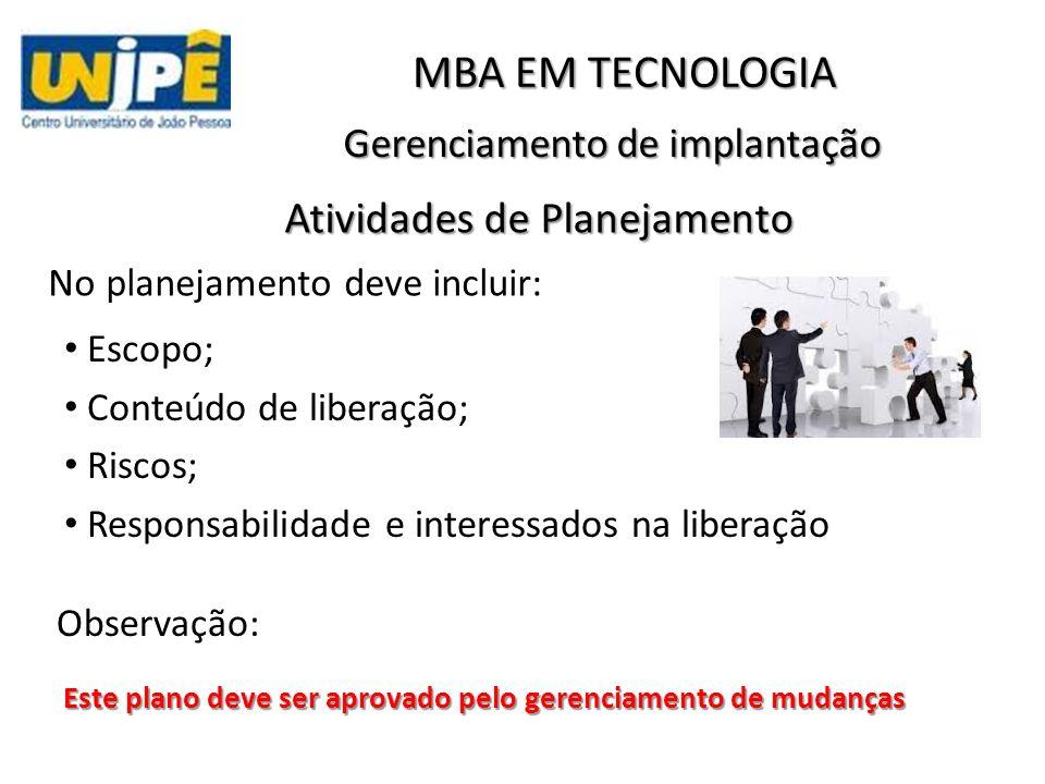 Gerenciamento de implantação Observação: MBA EM TECNOLOGIA Atividades de Planejamento Escopo; Conteúdo de liberação; Riscos; Responsabilidade e intere