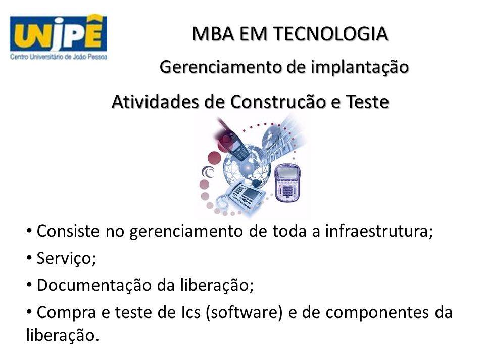 Gerenciamento de implantação MBA EM TECNOLOGIA Atividades de Construção e Teste Consiste no gerenciamento de toda a infraestrutura; Serviço; Documentação da liberação; Compra e teste de Ics (software) e de componentes da liberação.