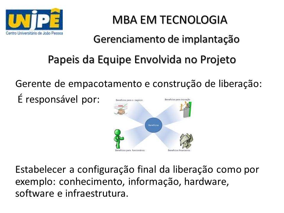 Gerenciamento de implantação MBA EM TECNOLOGIA Papeis da Equipe Envolvida no Projeto Gerente de empacotamento e construção de liberação: É responsável