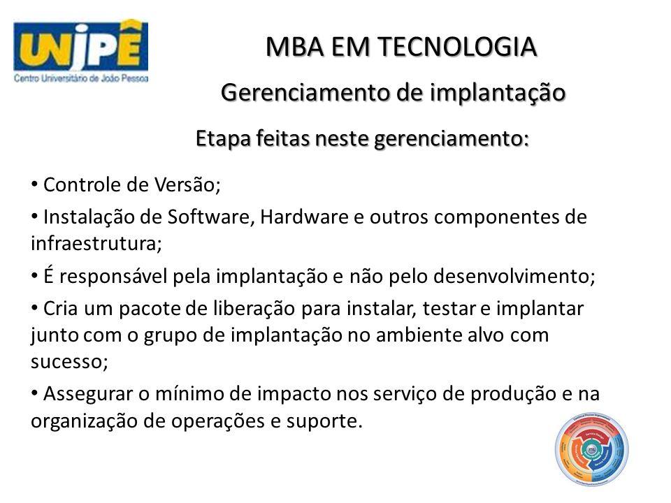 Gerenciamento de implantação MBA EM TECNOLOGIA Atividades de Transferência, implantação e retirada Faz a transição do negócio e a organização