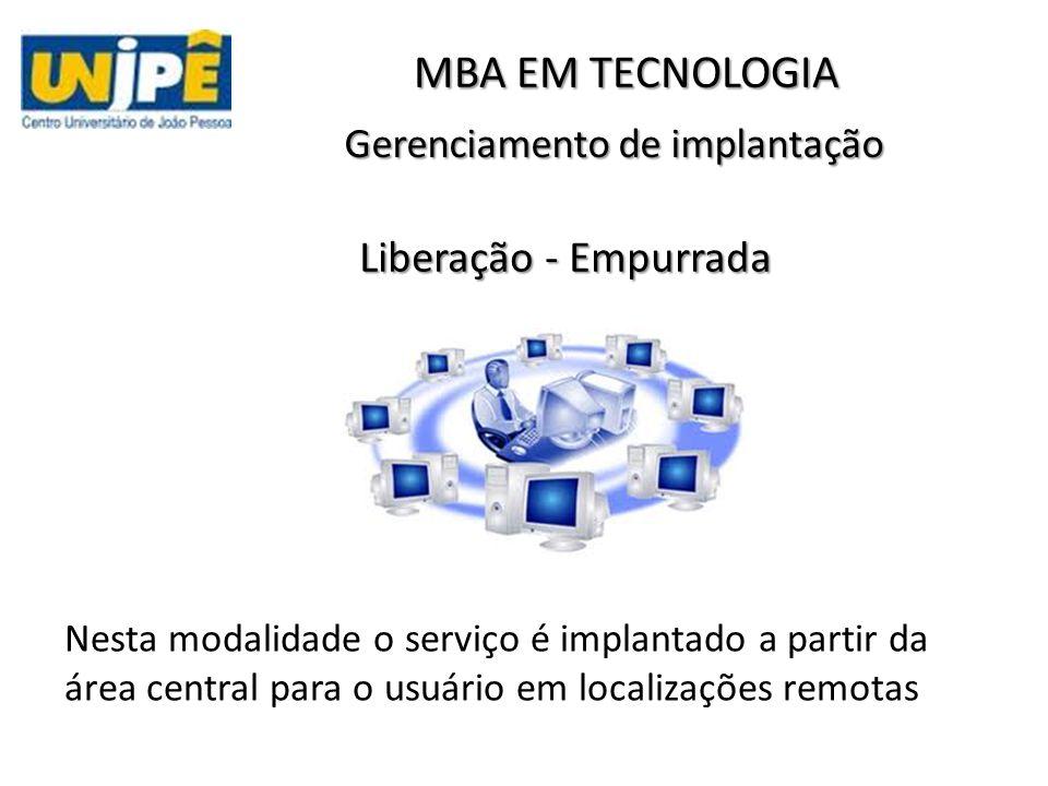 Gerenciamento de implantação Nesta modalidade o serviço é implantado a partir da área central para o usuário em localizações remotas MBA EM TECNOLOGIA