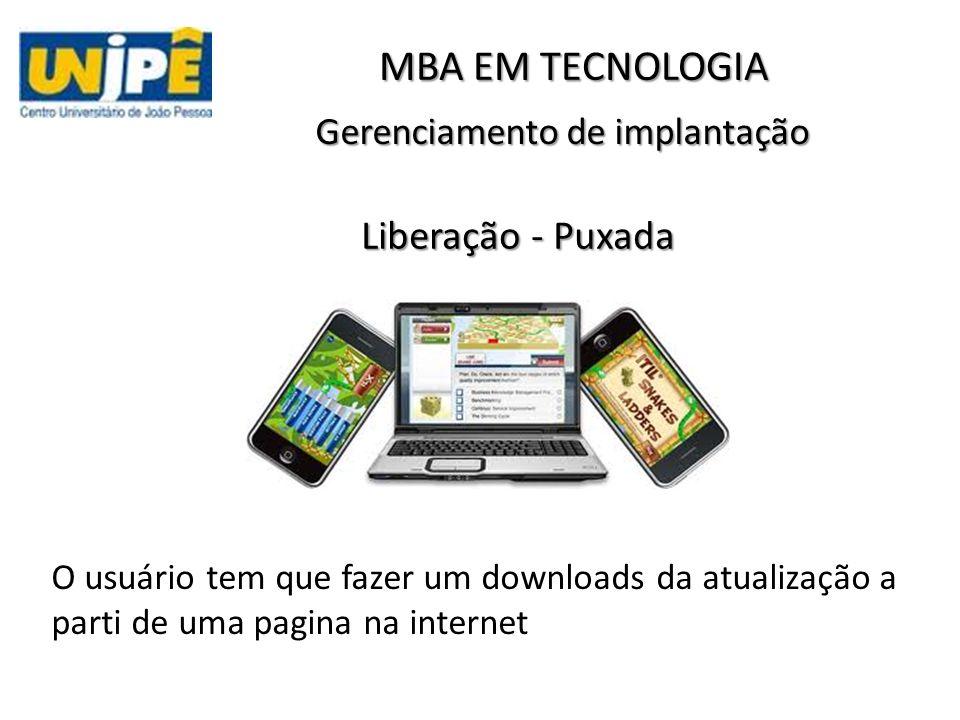 Gerenciamento de implantação O usuário tem que fazer um downloads da atualização a parti de uma pagina na internet MBA EM TECNOLOGIA Liberação - Puxada