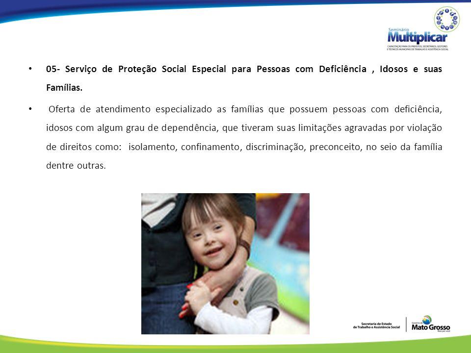 05- Serviço de Proteção Social Especial para Pessoas com Deficiência, Idosos e suas Famílias.