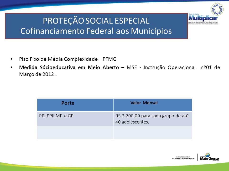 Piso Fixo de Média Complexidade – PFMC Medida Sócioeducativa em Meio Aberto – MSE - Instrução Operacional nº01 de Março de 2012.
