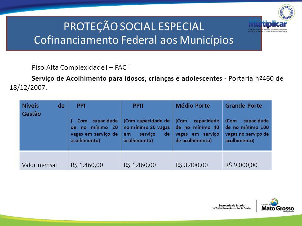 PROTEÇÃO SOCIAL ESPECIAL Federal aos Municípios Piso Alta Complexidade I – PAC I Serviço de Acolhimento para idosos, crianças e adolescentes - Portaria nº460 de 18/12/2007.