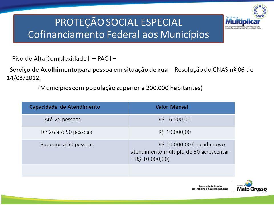 Piso de Alta Complexidade II – PACII – Serviço de Acolhimento para pessoa em situação de rua - Resolução do CNAS nº 06 de 14/03/2012.