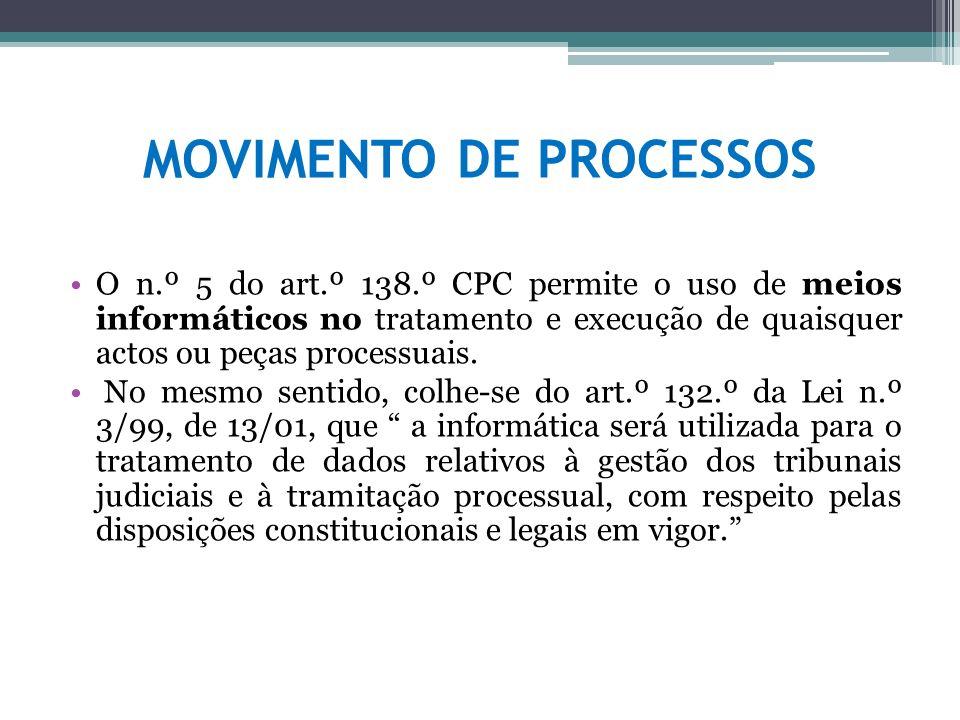 MOVIMENTO DE PROCESSOS O n.º 5 do art.º 138.º CPC permite o uso de meios informáticos no tratamento e execução de quaisquer actos ou peças processuais